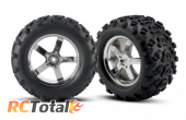 Traxxas Tires Mounted on Hurricane Chrome Wheels 14mm Hex (2): Revo